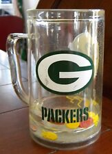 Great Green Bay Packers Beer Soda Mug with Floating Footballs Goalposts