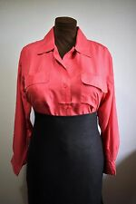 SILK TOP BLOUSE SHIRT LADYLIKE SECRETARY SEXY MISTRESS CHEST POCKETS CORAL 16 18