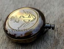 Nautical Antique Brass Navigation Push Button Compass Maritime Working Compass