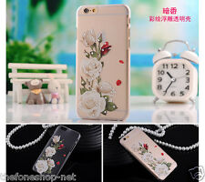 Luxury Rose Flower Diamond Transparent soft Back Case Cover for iPhone 5 5S SE
