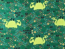 Green FQ Fat Quarter Fabric Dragon 100% Organic Cotton Quilting