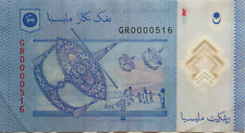 RM1 Zeti sign Low Number Note GR 0000516