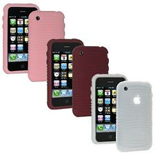 Set of 3 Color Amzer Wave Silicone Soft Skin Jelly Case Cover For iPhone 3G 3G S