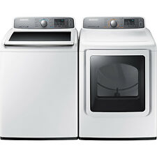 Samsung Top Load 4.8 Washer & 7.4 Electric Dryer Set WA48H7400AW DV48H7400EW