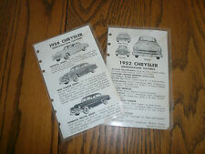 1952 1954 Chrysler Fact Pages - Vintage