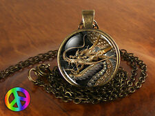 Golden Chinese Dragon Gothic Glass Dome Vintage Necklace Pendant Jewelry Gift