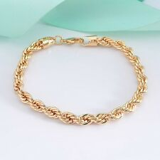 "Hot 9K Yellow Gold Filled Rope Bracelet Charming Chain 8.6""Link Fashion Jewelry"