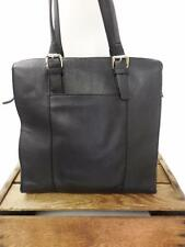 BANANA REPUBLIC Black Leather Minimalist Leopard Lined Tote Bag Shopper Purse