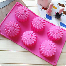 6 Flowers Silicone Cake Chocolate Muffin Pudding Jelly Soap Ice Cube Mould Tray