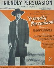 Vintage FRIENDLY PERSUASION THEE I LOVE Music Sheet GARY COOPER Film 1956
