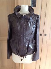 UNUSUAL MISS SELFRIDGE BROWN PLASTIC FEEL LIGHTWEIGTH JACKET UK SIZE 8 NWOT