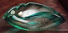 Vintage Murano Italy Art Glass Blue Green Bubbles Foil Sticker NASCO Bowl Dish