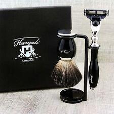 SHAVING KIT Black Badger Brush & Gillette mach3 MEN'S GROOMING SET Gift for Him
