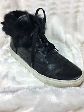 Damaged Vince Nyack Leather And Fur Line High Top Sneakers Size 8