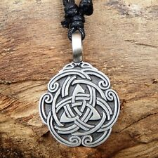 Trinity Celtic Knot Irish Triangle Triquetra Pewter Pendant and Cotton Necklace