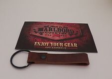 Marlboro Gear Rustico Genuine Brown Leather Key Fob With Card NEW Made in USA