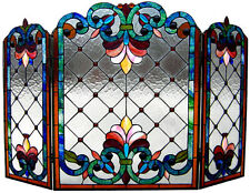 "44"" Chloe Lighting Tiffany-Glass Victorian 3peics Folding Fireplace Screen"
