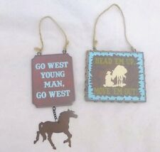 "Cowboy Inspired Hanger Signs ""Go West Young Man"" & ""Head em up Move em Out"" 2 pc"