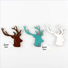 Retro nostalgia Continental Pastoral cute deer fridge Wooden magnet Sticker