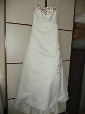D'Zage D9012 strapless Wedding Dress Red embroidery beading sequin Size 14 SALE!