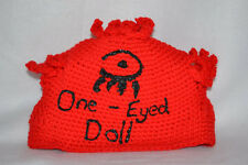 Abstract One Eyed Doll Unique Red Yarn Crocheted Beanie Hat OED eye