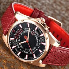 DETOMASO BUSINESS PUNK DT-YG105-E Day&Date Rosegold Stainless Steel Leather New