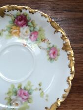 Lot of 3 T&V Hand painted Roses Limoges Saucers Signed
