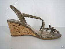 PRADA 8 Taupe Leather Braided Strappy Cork Wedge Bow Heels Sandals 38 EUC