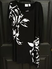 New Chico's Knit Kit Abstract Rose Black White Top Shirt Tunic 3 = XL 16/18 NWT