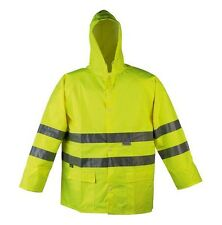 HI VIZ VIS XXXL RAIN COAT JACKET HIGH QUALITY WORKWEAR 100% WATERPROOF YELLOW