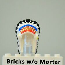 New Genuine LEGO White Headdress Indian with Colored Feathers Western Minifig