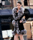 100% Real Genuine Leather Coat Fox Fur Collar Outwear Colthing Jacket Women New