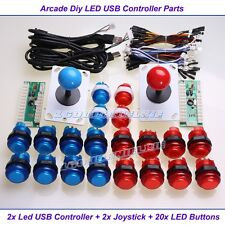 Arcade DIY Parts USB Encoder + 2 Joystick + 20 LED Illuminated Push Buttons MAME