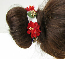 Red & Gold Wildflower Flower Bun Garland Wrap Holder Headband Hair Band A45