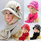Womens Winter Knit Scarf & Hat Beanie Flower Set Lined Warm Scarves Fashion