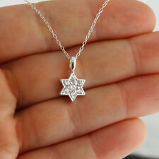 CZ Star of David Necklace - 925 Sterling Silver - Pendant Jewish Symbol Gift NEW