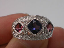 14K WHITE GOLD IOLITE & PINK TOURMALINE DIAMOND RING Etruscan Style SIZE 6 Wow!