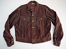 VINTAGE 70s LEE RIDERS brown trucker mens western work wear felt faux suede