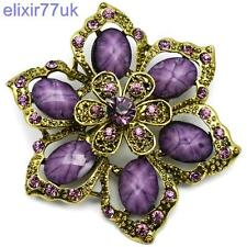 "2.4"" GOLD VINTAGE FLOWER BROOCH PURPLE DIAMANTE CRYSTAL WEDDING BRIDAL BROACH UK"