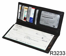 Black Genuine Leather Slim Checkbook Cover Organizer Wallet ID Money 3233