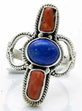 Lapis, Red Coral Ring Solid 925 Sterling Silver Jewelry Size 8.75 IR25870