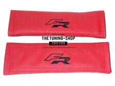 """2 X cubiertas de cinturón De Seguridad Hombro Almohadillas de cuero rojo """"FR"""" Bordado Para Seat"""