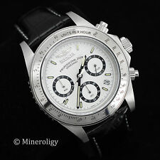Invicta Speedway Black Leather White Dial Silver Tn Mens Tachymeter Chrono Watch