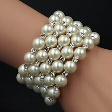 New Gorgeous White Glass pearl Clear Crystal Babgle Cuff Bracelet 07154 5 Rows