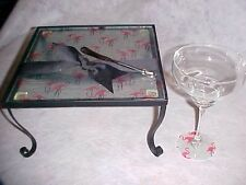 FLAMINGO Pink Glass Serving Tray  Stand Cheese Dip Knife Lot NEW 10""