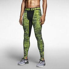 Nike Mens Dri Fit Hyperwarm Compression Running Tights Black/Volt 744798-702 M