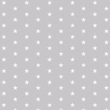 Baumwollstoff Meterware 0,5lfm 100% Baumwolle Dekostoff Kinderstoff Sterne Grau