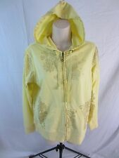 Three Hearts Hoodie Jacket w/Full Zip Front  - Yellow w/Gold - Women's S - NWT