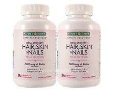 2 BOT NEW Nature's Bounty Hair Skin and Nails Vitamin 5000 mcg Biotin 250 Tabs
