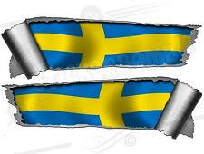 Pair Rolled back Ripped Metal Effect Swedish Flag  Vinyl Car Stickers